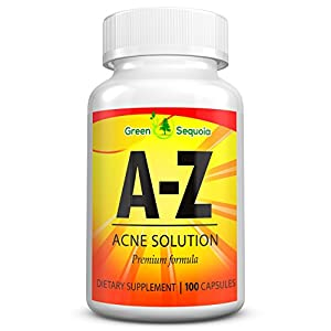 A Z Acne Treatment Supplement for Men, Women and Teens, Hormonal and Cystic Acne Pills, Contains Zinc, Vitamin A and B5, 100 Capsules