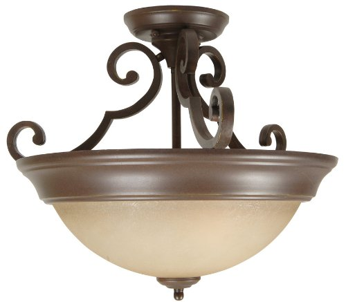 Craftmade Step (Craftmade X724-AG Bowl Semi-Flush Mount Light with Tea-Stained Glass Shades, Bronze Finish)