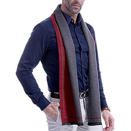 Color-1 Hombres de Negocios de oto/ño e Invierno Moda Casual Babero Cepillado Bufanda Gruesa Regalo del Padre Masculino Size 180 Dosige 30cm