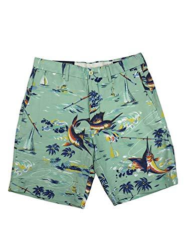 "RALPH LAUREN Polo Mens Classic Fit 6"" Linen Blend Fishing Scene Shorts Sea Blue (34)"