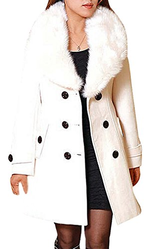 BLady Women's Large Furry Collar Belted Double Breasted Tailored Woolen Coat, Beige ()
