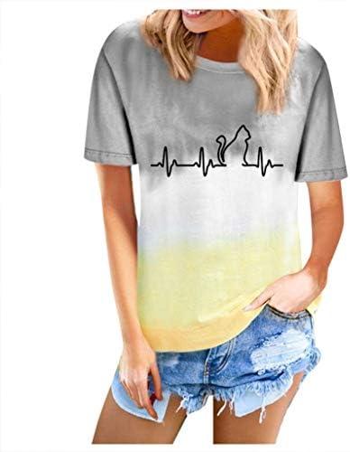 Women Short Sleeve Tie-Dye Tops Gradient Cute Cat Print Round Lounge T Shirt Neck Summer Basic Tee Blouse Tunic Tops