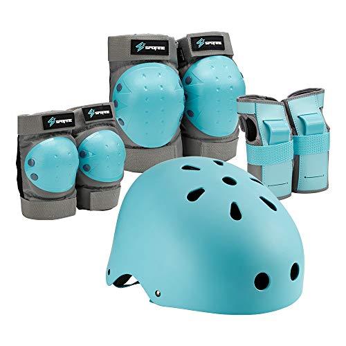Spofine Kids Bike Helmet, Toddler Helmet Adjustable for Kids Youth Adult, Knee Pads Elbow Pads Wrist Guards Kids Protective Gear Set for Skateboard, Bike, Roller Skating, Cycling, Scooter, Rollerblade