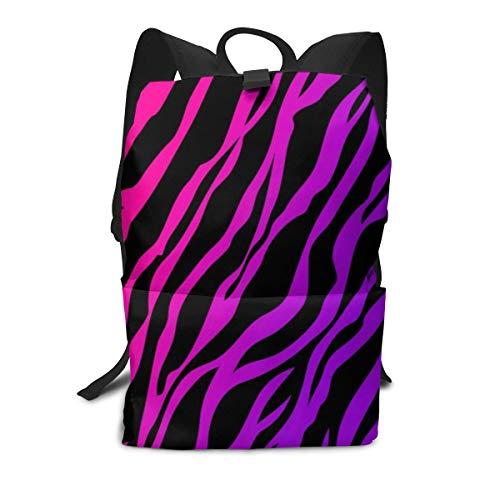 Backpack Purple Pink Zebra Texture Zipper Bookbag Daypack Hiking Rucksack Gym Bags For Man ()