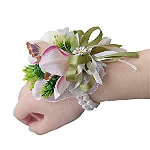 USIX 4pc Pack-Handmade Artificial Flower Wrist Corsage With Elastic Wristband for Girl Bridesmaid Wedding Wrist Corsage Party Prom Flower Corsage Hand Flower 100