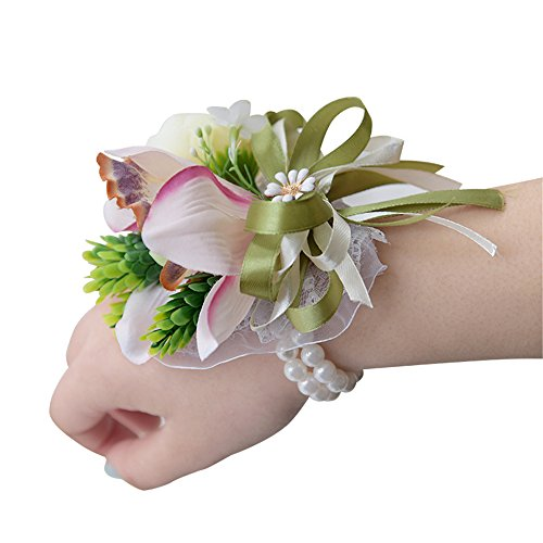 USIX 4pc Pack-Handmade Artificial Flower Wrist Corsage With Elastic Wristband for Girl Bridesmaid Wedding Wrist Corsage Party Prom Flower Corsage Hand Flower ()