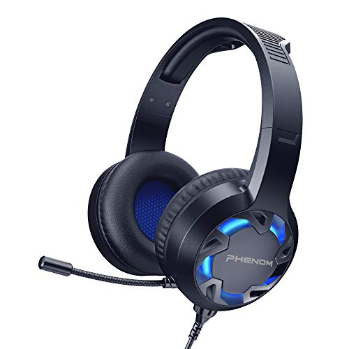 PHENOM LED Comfortable Noise-Isolating Gaming Headset with Microphone Immersive Audio and Volume Control | Works with Xbox One, PC, PS4 and Nintendo Switch (Blue)