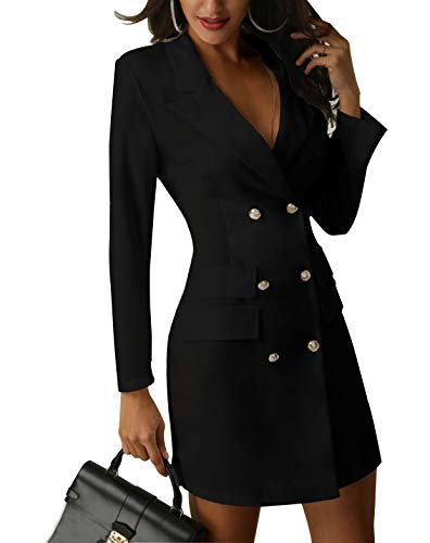 Women's British Double Breasted Turn Down Collar OL Blazer Dress Slim Fit Office Dress Mini Long Trench Coat (US M = Tag L, Black)