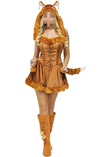 [Snlydtan Halloween Funny Brown Cat Fox Costume Hat Dresses w/Tail] (Fox Hat Costume)