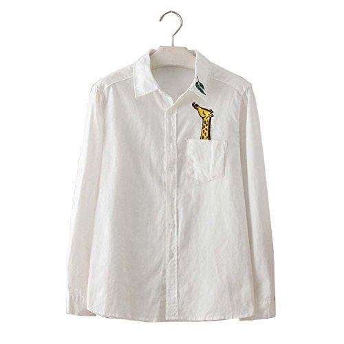 Simple chemise blanche brodée Blouse femme Tops manches longues Blouses, # 02