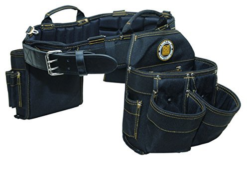 (Rack-A-Tiers 43243 Electrician's Belt and Bag Combo 9 Pockets Large 36-40 Inch Waist Black)