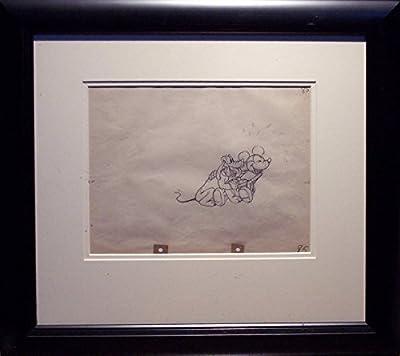 "Mickey Mouse Rare Original Animation Cel Drawing by Les Clark ""Mickey's Kangaroo"", 1935 Framed Walt Disney"