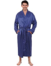 Mens Satin Robe, Long Lightweight Loungewear