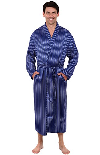 Alexander Del Rossa Mens Satin Robe, Long Lightweight Loungewear, Small Blue Striped (A0720R05SM) Light Blue Striped Satin
