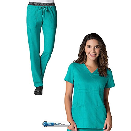 EON by Maevn Mock Wrap Top & 7 Pocket Waistband Cargo Pant Scrub Set (Small, Teal) (Embroidered Mock Wrap)