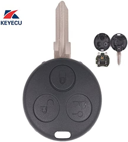 Keyecu Replacement Remote Car Key Fob 433MHz for Smart Fortwo Forfour Roadster City Passion 2000-2005 with 2 Infrared Lights