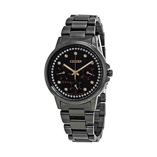 Ladies' Citizen Eco-Drive Silhouette Crystal Chronograph Black Watch FD2047-58E