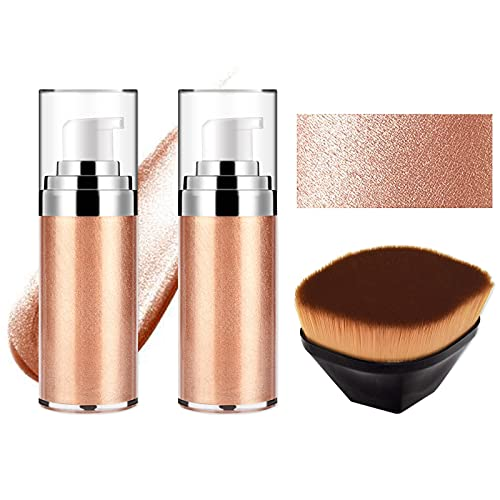 FREEORR 2Pcs Body Luminizer, Face Body Glow Illuminator Non Sticky and Moisturizing,Liquid Highlight Illuminator, Body…
