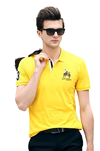 PuHao (プハオ) メンズ ポロシャツ 半袖 夏 カジュアル スポーツウェア ゴルフウェア シンプル 通気性 薄手 吸汗 polo ファッション カッコイイ Tシャツ (イエロー13, 3XL)