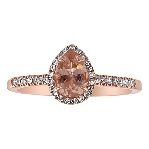 Olivia Paris Women's 14K Rose Gold Pear Shape Morganite & Diamond Halo Engagement 3 Ring Set (1/3 cttw, H-I, I1), 9 (Morganite Ring 14k Rose Gold)