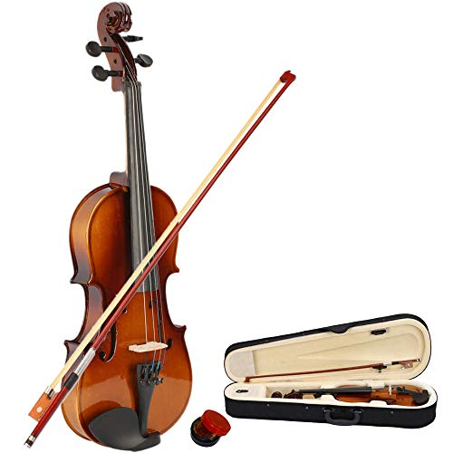 Festnight- 1/2 Acoustic Violin Full Size Wood Violin with Carrying Case,Bow,Rosin for Violin Beginner Student/Boys/Girls/JKids/Children Natural Color