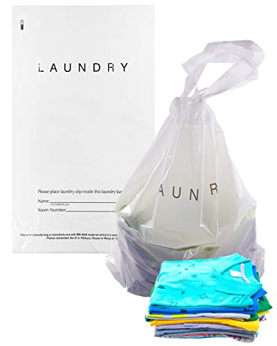 APQ Pack of 100 Tear Strip Laundry Bags 14 x 24. Hospitality Plastic Bags 14x24 with Drawstring Closure. 1.25 Mil. Write-on Indicator Strips. Clear Hotel Biodegradable Bags with Drawtape Handle.