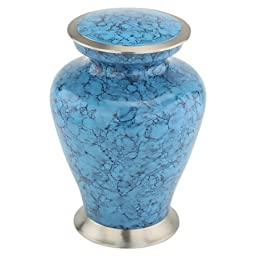 Silverlight Urns Marbled Turquoise Cremation Urn, Adult Size, 10.5 Inches Tall, Blue Urn for Ashes