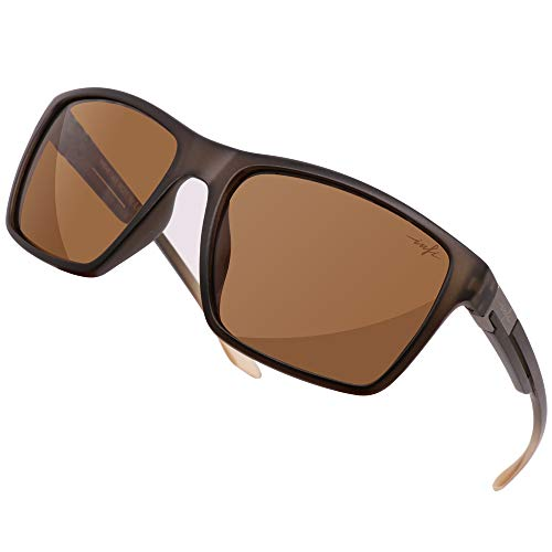 HD Fishing Sunglasses Polarized Wayfarer Driving running Sport Glasses for Women Men UV Protection 2019 Designer (matte brown) (Best Polarized Sunglasses 2019)