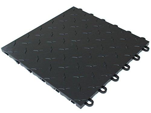 Trac Step Modular Interlocking Garage, Deck, Patio Tile - Black Corner Edge