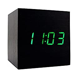 Wooden Alarm Clock, USB Digital Retro Alarm Clock Cube Wood Led Desktop Table Home Decor Mini Travel Clock Voice Sound Control JLYSHOP (Black Green)