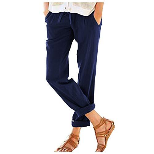iHHAPY Womens Long Pants Fashion Pure Color Leisure Trousers Straight Fit Strappy Nine-Cent Pant Cotton Linen Elastic Blue