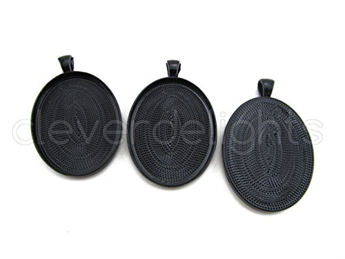 CleverDelights 10 Oval Pendant Trays - Dark Black Color - 30 x 40 mm - Pendant Blanks Cameo Bezel Cabochon Settings - 30x40mm ()
