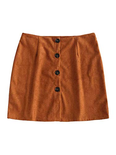 ZAFUL Women's Faux Suede Button Closure Plain A-line Mini Short Skirt(Tiger Orange,L)