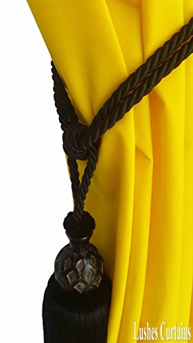 1 Luxury Handmade Black Color w/Wood Single Tassel Rope Tie Back Window Treatment Curtain Drapery Vintage Look 2 Spread Cord Holdback Decor Tieback/Pull Back by Lushes Curtains (Image #1)