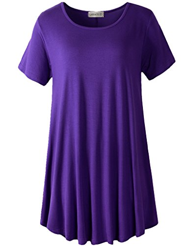 LARACE Women Short Sleeves Flare Tunic Tops for Leggings Flowy Shirt (M, Deep Purple)