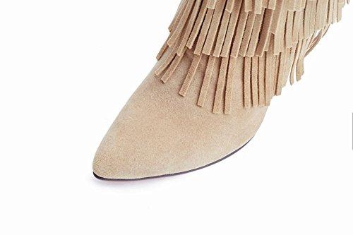 Mee Shoes Damen Quaste Stiletto spitz Nubukleder Stiefel Hellaprikose