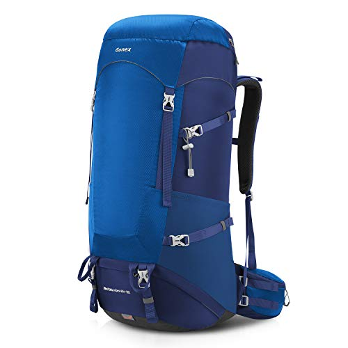 Gonex 65L/75L Backpack for Hiking Traveling Camping with Internal Frame Rain Cover Blue