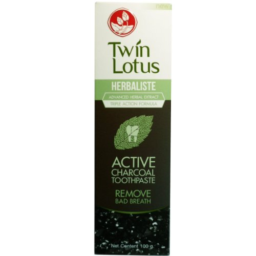NEW!! TWIN LOTUS ACTIVE CHARCOAL TOOTHPASTE HERBALISTE Triple Action 100G + Twin Lotus Bamboo Charcoal Soft Bristles Toothbrush (1pc) with Free 1Gift (Toothbrush Triple Action Soft)