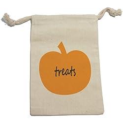 Pumpkin Treats - Halloween Thanksgiving Harvest Fall Muslin Cotton Gift Party Favor Bags - LG (12)