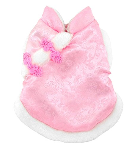 (SMALLLEE_Lucky_Store Pet Clothes,Ancient Chinese Imperial Costume Silk Cover Fleece Lined Coat Princess Pink S)