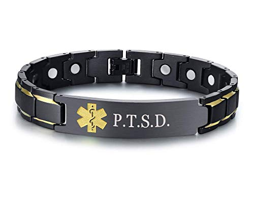 XUANPAI P.T.S.D. Brushed Name Plate ID Identity Magnet Therapy Medical Alert ID Bracelet(Black+Yellow)