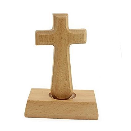 Croce in legno di faggio con croce a croce magnetica in legno Gesù Crocefisso in legno con croce da tavolo Decor per la casa e l'ufficio (Rettangolo) Shock222