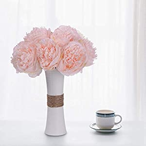 Nrpfell Vintage Peony Artificial Flowers - 2 Pack Silk Flowers Bouquet 10 Heads Peony Fake Flowers for Wedding Home Decoration 3