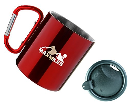 MaxMiles Camping Cup Lightweight Hiking Stainless Steel Cup Mug Carabiner