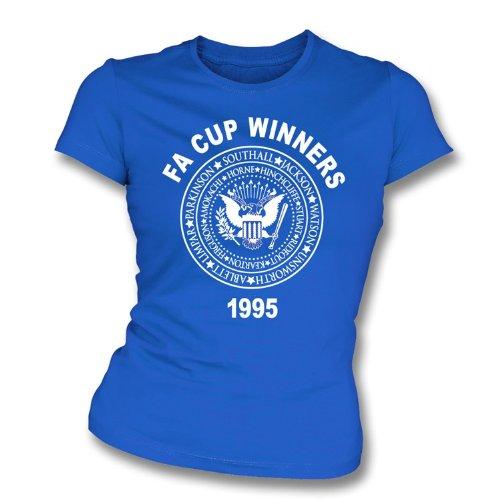 Punk Football Everton FA Cup Winners 1995 (Ramones Style) Girl's Slim-Fit T-shirt X-Large Royal ()