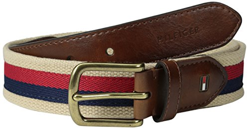 Tommy Hilfiger Men's Ribbon Inlay Belt - Fabric Belt with Single Prong Buckle, Tan Ribbon, 38