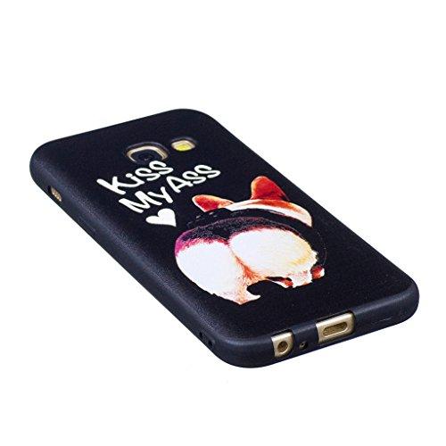 Trumpshop Smartphone Carcasa Funda Protección para Samsung Galaxy A3 (2016) SM-A310 [Mariposa Azul] Serie Talla Ultra Suave Flexibles TPU Silicona Resistente a arañazos Caja Protectora Perro linda