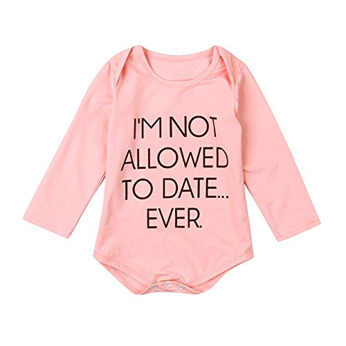 Baby Girls Outfits,Buedvo I'm Not Allowed To Date Print Romper Bodysuit Jumpsuit (9-12Months, Pink) ()