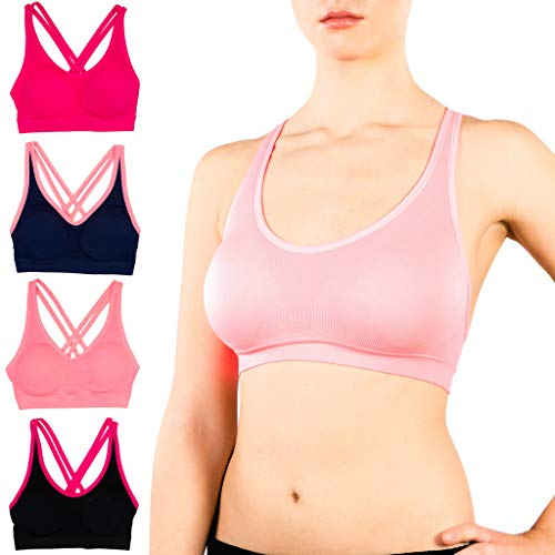Alyce Intimates Strappy Criss Cross Womens Sports Bra, Pack of 4, Assorted, Small ()