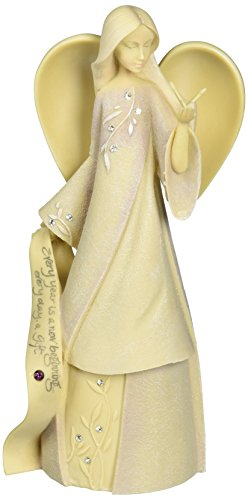 Foundations February Monthly Angel Stone Resin Figurine, 7.5""